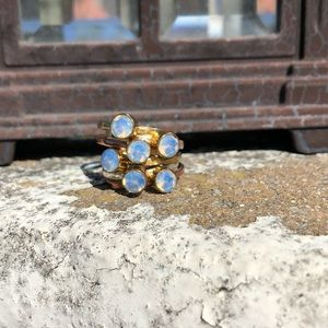 Jewelry - Opalite Two-Tone Sterling Silver Ring Sz 7